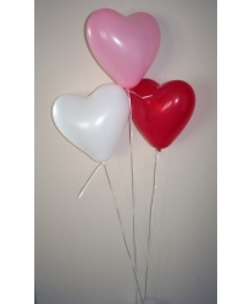 Harjes ballonnen, rood, rose en wit.