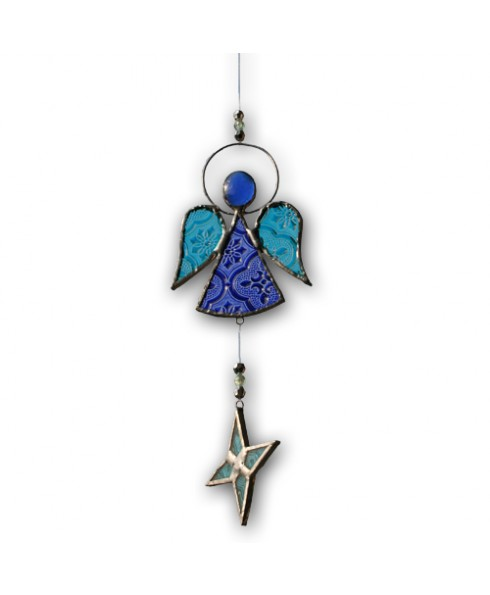 Engel sun catcher blauw.