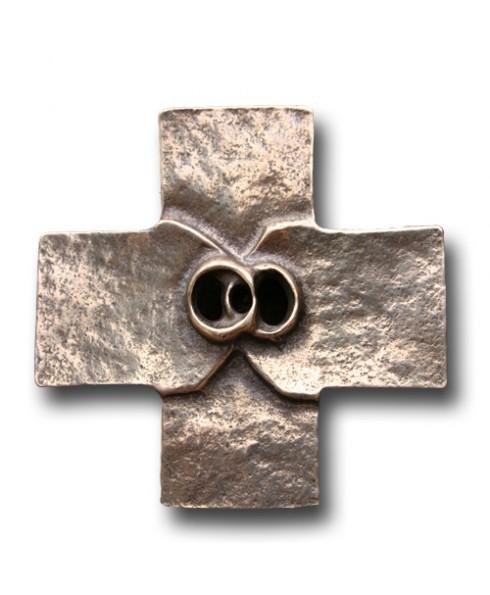 Huwelijks kruis brons neusilber