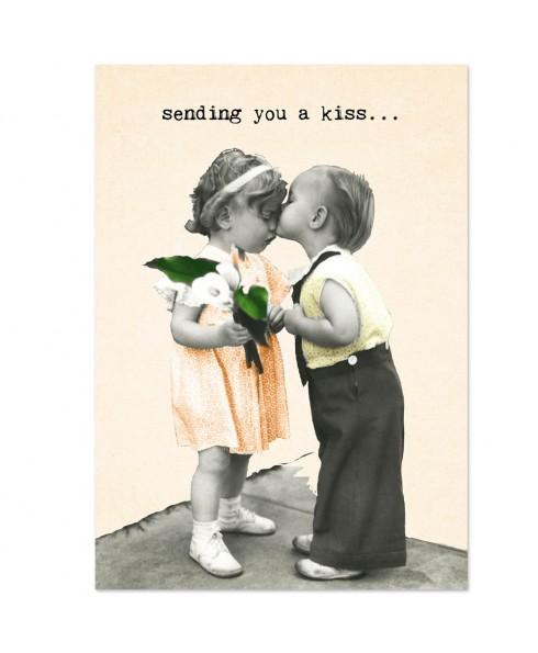 Postkaart sending a kiss