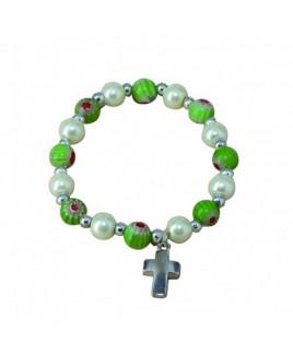 Armband kruisje groen