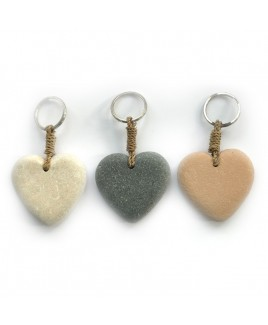 Sleutelhanger hart natuursteen