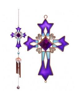 Paars kruis, glas