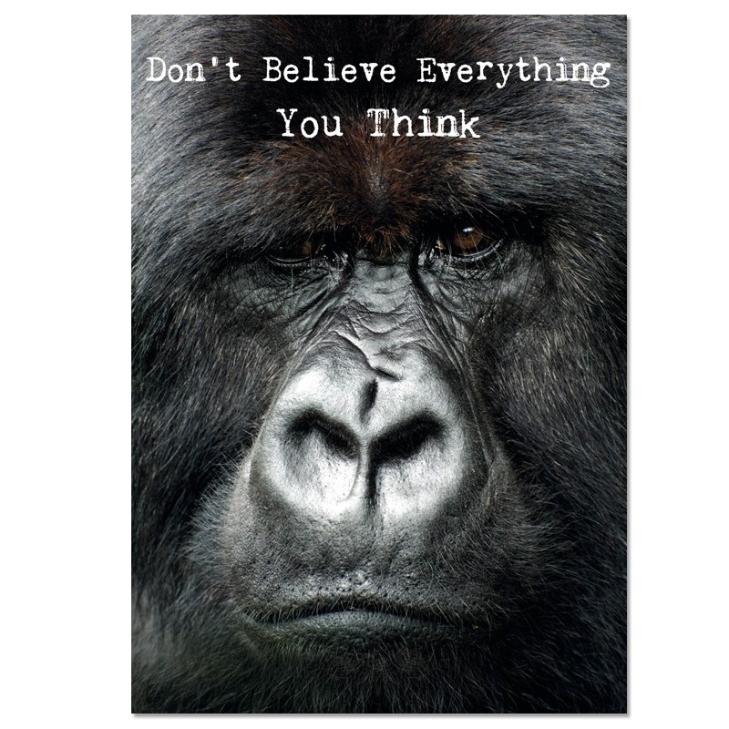 Postkaart: Don't believe everything you think